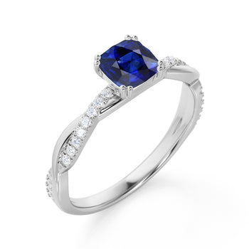 1.50 Carat Cushion Cut Genuine Ceylon Blue Sapphire & Diamond September Birthstone Infinity Engagement Ring in White Gold