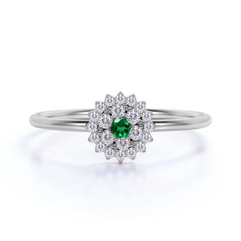 Stunning Flower Shape Emerald and Diamond Stacking Ring in Rose Gold