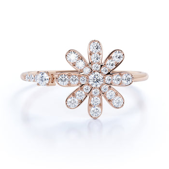 Dazzling Flower Mini Stacking Ring with Round Diamonds in Rose Gold