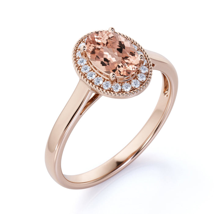 1.25 Carat Halo Oval Cut Morganite & Diamond Solitaire Engagement Ring in Rose Gold