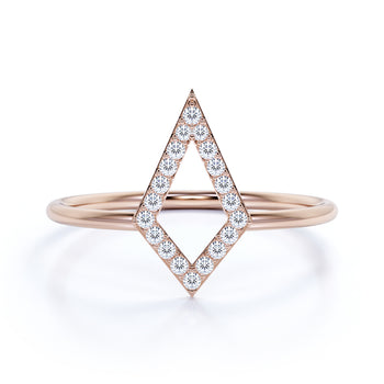 Geometric Minimalist Stacking Ring with Round Diamonds in Rose Gold