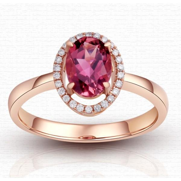 Halo 1.50 Carat Red Oval cut Ruby and Diamond Engagement Ring