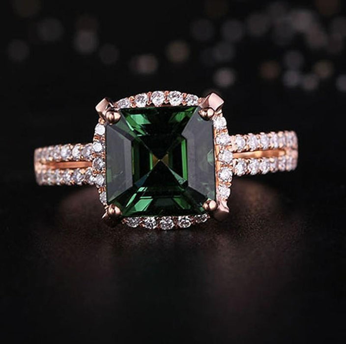 Halo 1.50 Carat princess cut Emerald and Diamond Engagement Ring