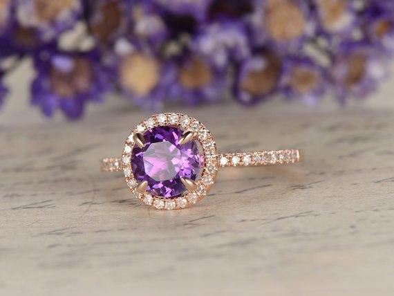 1.25 Carat Round Cut Amethyst and Diamond Halo Engagement Ring in Rose Gold