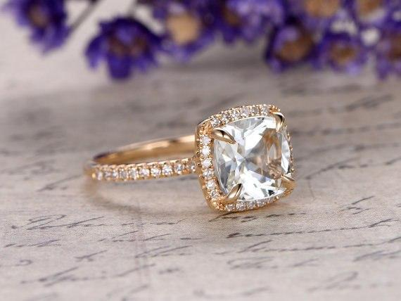 1.50 Carat Cushion White Topaz and Diamond Engagement Ring in Yellow Gold