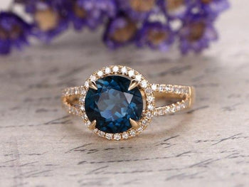 2 Carat Round London Blue Topaz and Diamond Split Shank Engagement Ring in Yellow Gold