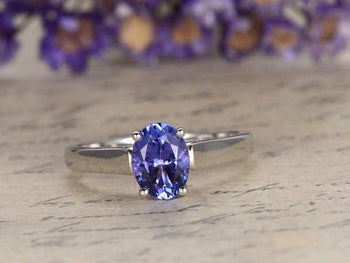 1 Carat Oval Tanzanite Classic Solitaire Engagement Rings in White Gold