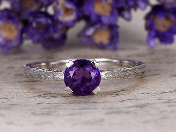 1.25 Carat Round Amethyst Engagement Ring Solitaire Filigree Classic Design in White Gold