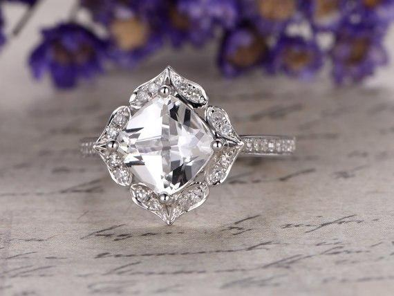 1.50 Carat White Topaz and Diamond Art Deco Engagement Ring in White Gold