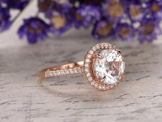 1.50 Carat Round White Topaz and Diamond Halo Half Infinity Engagement Ring in Rose Gold