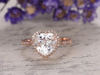 1.50 Carat Heart Shape White Topaz and Diamond Engagement Ring in Rose Gold