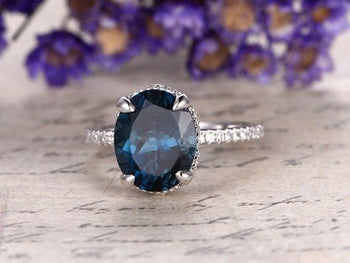 1.50 Carat Oval London Blue Topaz and Diamond Half Infinity Engagement Ring in White Gold