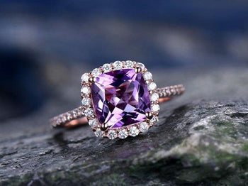 1.50 Carat Purple Cushion Cut Amethyst  and Diamond Engagement Ring for Her in Rose Gold