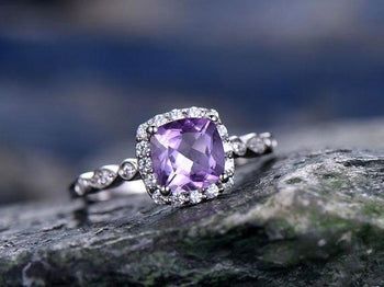 1.25 Carat Purple Amethyst and Diamond art deco engagement ring in White Gold