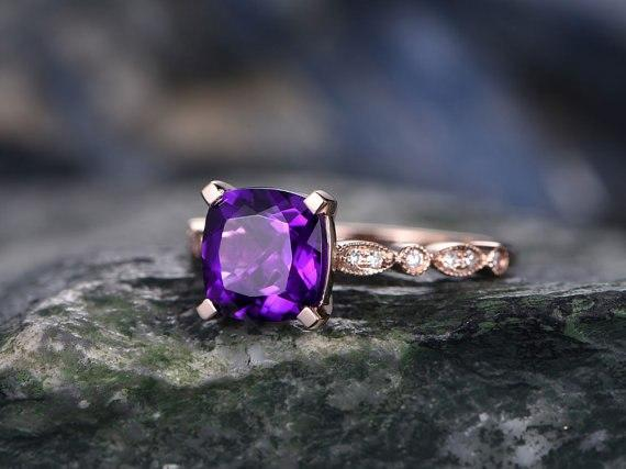 1.50 Carat Purple Cushion Amethyst and Diamond Art Deco Engagement Ring in Rose Gold
