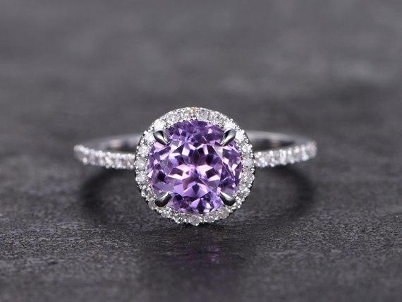 1.25 Carat Round Amethyst and Diamond Halo Engagement Wedding Ring in White Gold