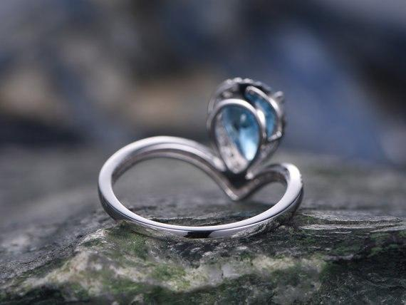 1.50 Carat Pear London Blue Topaz and Diamond Engagement Ring in White Gold