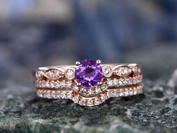 Bestselling 2 Carat Purple Amethyst and Diamond Art Deco Trio Wedding Ring Set with Engagement Ring and 2 wedding bands in Rose Gold