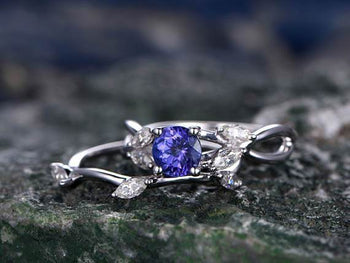 1.50 Carat Solitaire Round Cut Tanzanite Diamond Wedding Ring Set in White Gold
