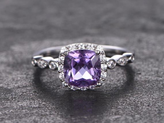 1.25 Carat Cushion Amethyst and Diamond Halo Engagement Ring in White Gold