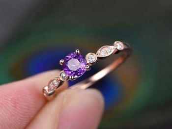 1.25 Carat Round Amethyst and Diamond Art Décor Engagement Ring in Rose Gold