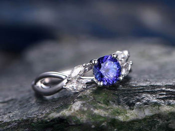 1.25 Carat Round Cut Tanzanite and Diamond Engagement Ring in White Gold