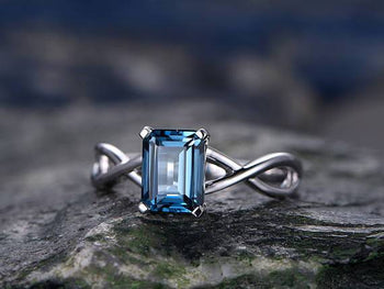 1.25 Carat Emerald Cut London Blue Topaz Split Shank Solitaire Engagement Ring in White Gold