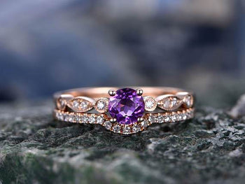 Perfect 1.50 Carat Purple Amethyst and Diamond Wedding Ring Set Art Deco Design in Rose Gold