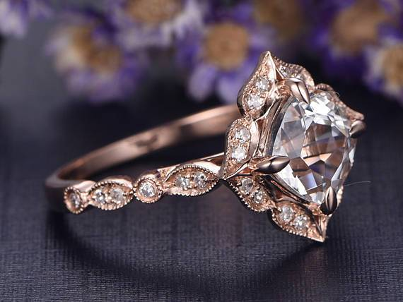 1.50 Carat Cushion White Topaz and Diamond Art Deco Engagement Ring in Rose Gold