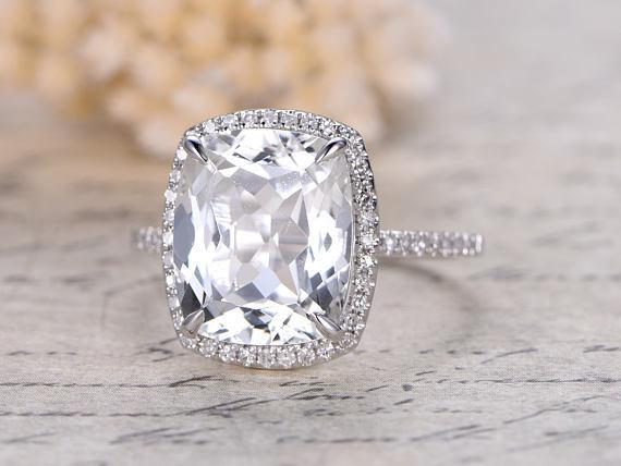 2.50 Carat  Oval Cut White Topaz and Diamond Halo Engagement Ring in White Gold