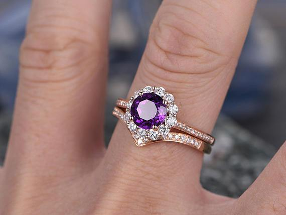 2.50 Carat Purple Round Amethyst and Diamond Floral Halo Curved Wedding Ring Set in Rose Gold