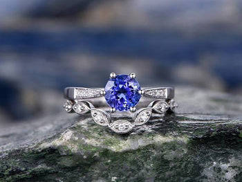 1.50 Carat Round Cut Tanzanite Diamond Solitaire and Art Deco Wedding Ring Sets in White Gold