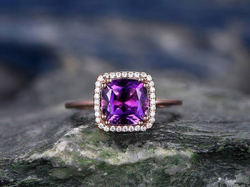 Bestselling 1.25 Carat Cushion Amethyst and Diamond Halo Engagement in Rose Gold