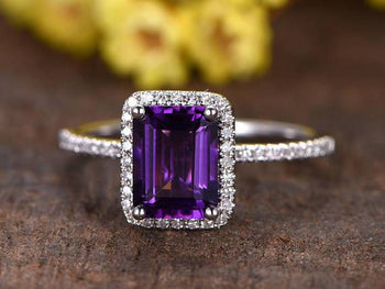 1.25 Emerald Cut Amethyst and Diamond Half Eternity Engagement Trio Ring Set in White Gold
