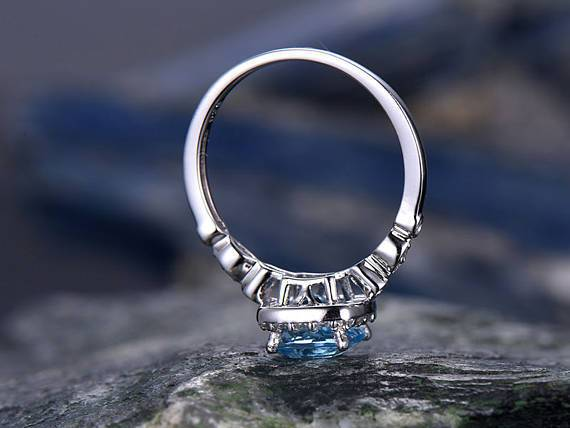 1.50 Carat London Blue Topaz and Diamond Halo Art Deco Engagement Ring in White Gold