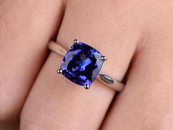 1.50 Carat Cushion Tanzanite Solitaire Engagement Ring in White Gold