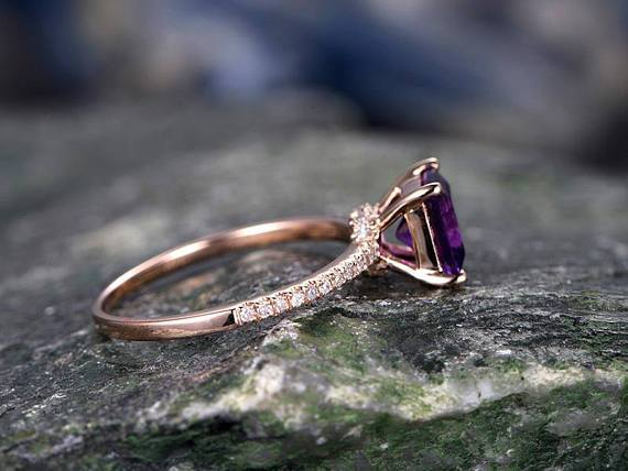 1.25 Carat Princess Amethyst and Diamond Engagement Ring in Rose Gold