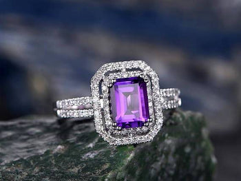 2.50 Carat Amethyst and Diamond Halo Split Shank Engagement Ring Art Deco Antique Ring in White Gold
