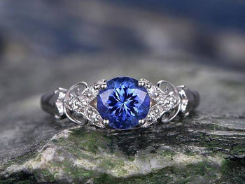 1.25 Carat Round Cut Tanzanite Floral Engagement Ring in White Gold