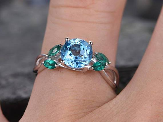 1.25 Carat Round Topaz and Emerald Cut Engagement Ring in White Gold