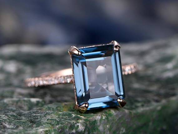 1.50 Carat Emerald Cut London Blue Topaz and Diamond Half Infinity Engagement Ring in Rose Gold