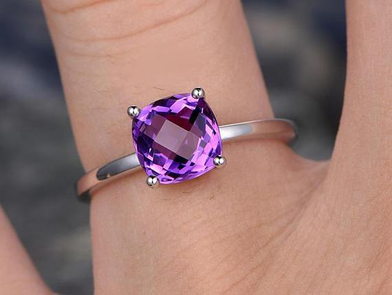 1 Carat Cushion Amethyst Solitaire Engagement Ring for Women in White Gold
