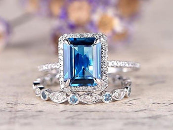 2 Carat Emerald Cut London Blue Topaz and Diamond Engagement Ring in White Gold