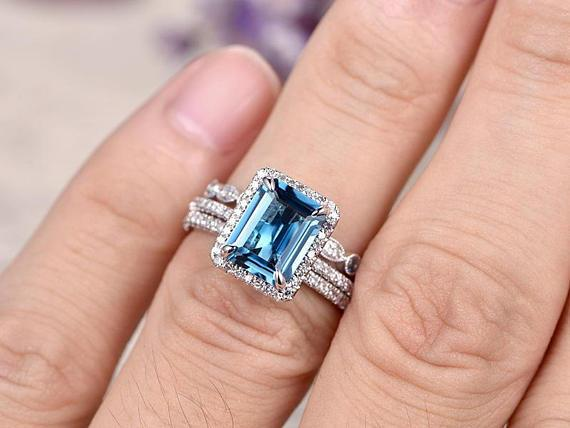 2 Carat Emerald Cut London Blue Topaz and Diamond Trio Ring Set in White Gold