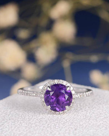 1.50 Carat Round Amethyst and Diamond Half Eternity Engagement Ring in White Gold Halo