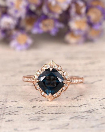 2 Carat Cushion London Blue Topaz and Diamond Art Deco Engagement Ring in Rose Gold