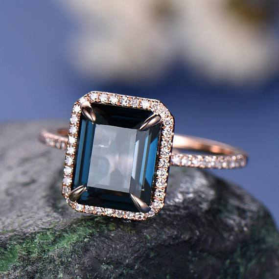 1.50 Carat Emerald Cut London Blue Topaz Halo Half Infinity Engagement Ring in Rose Gold