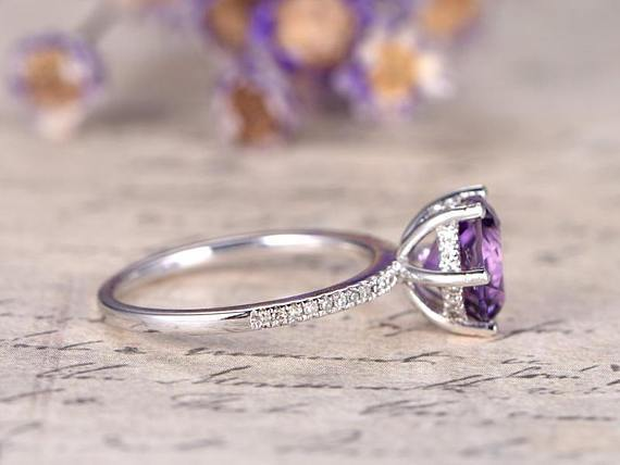 1.25 Carat Round Amethyst and Diamond Engagement Ring in White Gold