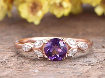1.50 Carat Round Amethyst and Art Deco Leaf Diamond Engagement Ring in Rose Gold