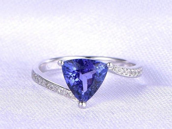 1.50 Carat Trillion Tanzanite Diamond Unique Pave Engagement Ring in White Gold
